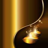Olje- lampor med diwalihälsningar stock illustrationer