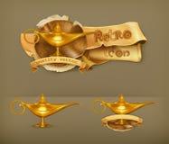 Olje- lampor, vektorsymboler royaltyfri illustrationer