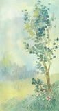 Olje- landskap i återhållna signaler Ett ensamt träd i en röjning stock illustrationer