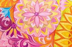 Olje- målarfärger för abstrakt teckning på en kanfas med den blom- prydnaden royaltyfri illustrationer