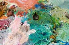 Olje- målarfärger på paletten Abstrakt bakgrund för olje- målarfärger Royaltyfria Foton