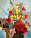 Olje- målning av blommor Arkivfoton