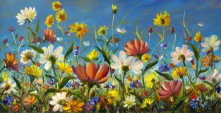 Olje- målning av blommor, det härliga fältet blommar på kanfas Modern impressionism Impasto konstverk Arkivfoton