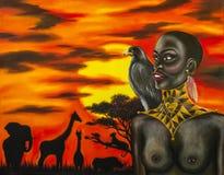 Olje- målning av den afrikanska kvinnan Arkivfoton