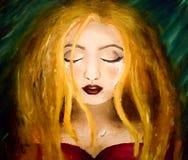 Olje- målning av en ung flicka med revor på en mörk bakgrund royaltyfri illustrationer