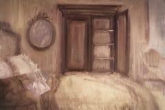 Olje- målning av ett sovrum Royaltyfria Bilder