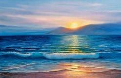 Olje- målning av havet på kanfas Arkivbild