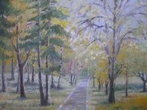Olje- målning, färgrika höstträd Arkivfoto