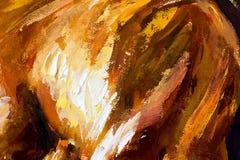 Olje- målning för abstrakt stor closeupmakro på kanfas Modern impressionism Impasto konstverk Royaltyfri Fotografi