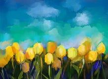 Olje- målning för abstrakta tulpanblommor stock illustrationer