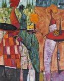 Olje- målning för textur vara upphovsman till Roman Nogin, samtal för ` s för serie`-kvinnor `, Royaltyfri Bild