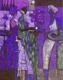 Olje- målning för textur vara upphovsman till Roman Nogin, samtal för ` s för serie`-kvinnor `, Royaltyfri Fotografi