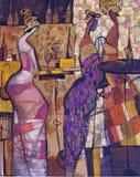 Olje- målning för textur vara upphovsman till Roman Nogin, samtal för ` s för serie`-kvinnor `, Arkivfoto