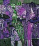 Olje- målning för textur vara upphovsman till Roman Nogin, samtal för ` s för serie`-kvinnor `, Arkivfoton