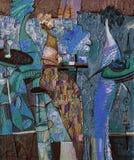 Olje- målning för textur vara upphovsman till Roman Nogin, samtal för ` s för serie`-kvinnor `, Arkivbilder
