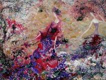 Olje- målning för textur vara upphovsman till Roman Nogin, samtal för ` s för serie`-kvinnor ` version för författare` s av färg Arkivfoton