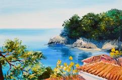 Olje- målning - hus nära havet royaltyfri illustrationer