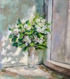 Olje- målning, impressionismstil, texturmålning, blommastil Arkivfoton