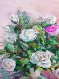 Olje- målning, impressionismstil, texturmålning, blommastil Royaltyfria Bilder