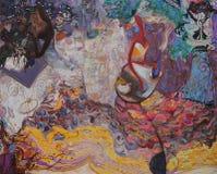Olje- målning, konstnär Roman Nogin, serie`-kvinnors samtal `, Arkivfoto
