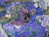 Olje- målning, konstnär Roman Nogin, serie`-kvinnors samtal `, Royaltyfria Bilder