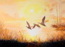 Olje- målning-kranar på solnedgången, konstarbete stock illustrationer