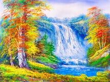 Olje- målning - landskap royaltyfri illustrationer