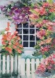 Olje- målning - massor av blommor runt om huset, gångbana stock illustrationer