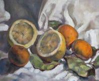 Olje- målning på kanfas av en fruktsammansättning Arkivfoto