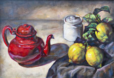 Olje- målning på kanfas av en fruktsammansättning Fotografering för Bildbyråer