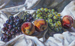 Olje- målning på kanfas av en fruktsammansättning Royaltyfri Bild