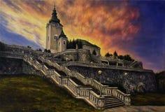 Olje- målning på kanfas av en kyrka och en trappuppgång i en solnedgång l Royaltyfri Foto