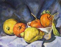 Olje- målning på kanfas av en sammansättning av frukt Arkivbild