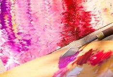 Olje- målning på kanfas, modeller, abstrakt begrepp Arkivbilder