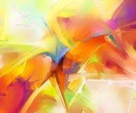 Olje- målningar för modern konst med guling, röd färg Samtida konst för bakgrund royaltyfri illustrationer