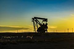 Olje- maskin på det Patagonian landskapet, Santa Cruz, Argentina Arkivbild