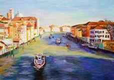 Olje- målning - Venedig, Italien Fotografering för Bildbyråer