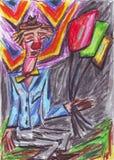 Olje- pastellfärgad målning för clown Royaltyfria Bilder