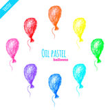 Olje- pastellfärgad regnbågeballonguppsättning Fotografering för Bildbyråer