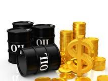 Olje- pengar vektor illustrationer
