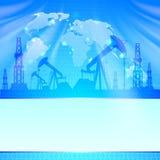 Olje- pump på blått. Royaltyfri Fotografi