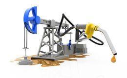 Olje- pump-stålar med dysan Arkivbilder