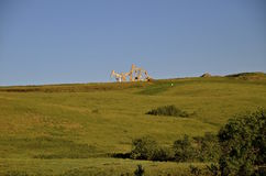 Olje- pumpar i västra North Dakota Arkivbild