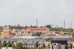 Olje- Rig Over Curacao Arkivfoton