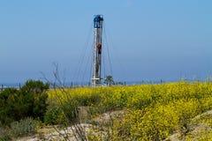 Olje- Rig Surrounded By Ocean och blommor Royaltyfri Bild