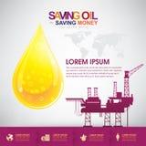 Olje- sparande pengar för olje- vektorbegreppsbesparing Arkivbild