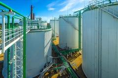 Olje- terminal, lagring och infrastruktur, rörledningar Royaltyfri Fotografi