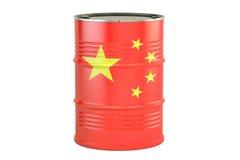 Olje- trumma med flaggan av Kina Oljeproduktion- och handelbegrepp, royaltyfri illustrationer