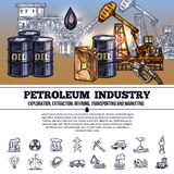 Oljeindustri Infographics stock illustrationer