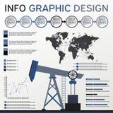 Oljeindustribeståndsdelar Informationsdiagramuppsättning Shoppa etiketter och symboler Royaltyfri Bild